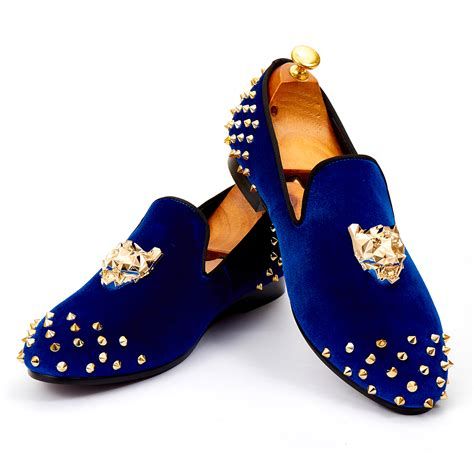 Jual Simple Flatshoes Polos harpelunde mens wedding shoes spikes blue velvet loafers animal buckle flat shoes size 7 14
