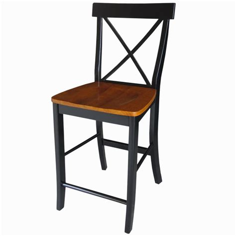 Black And Cherry Bar Stools by International Concepts X Back 24 In Black And Cherry Bar