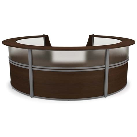 Ofm Reception Desk Ofm Marque Plexi 5 Unit Reception Desk In Walnut 55316 Walnut