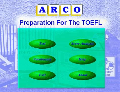 Preparation For Test arco s preparation for toefl test toefl preparation course