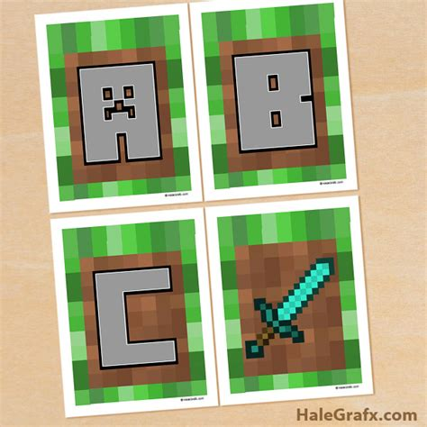 free printable minecraft alphabet letters free printable minecraft alphabet banner