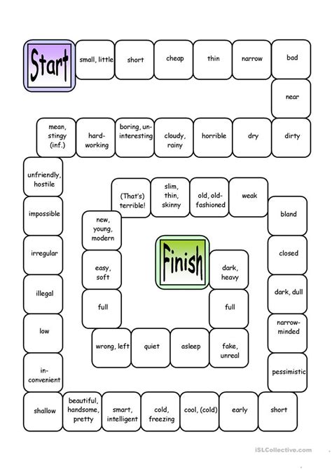 printable games with adjectives board game opposites attract adjectives worksheet