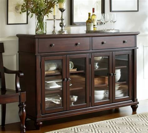 Lawton Glass Door Buffet Pottery Barn Buffet Cabinet With Glass Doors