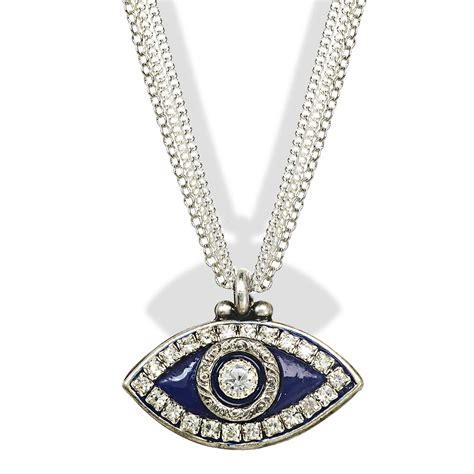 jewelry judaica blue silver evil eye pendant necklace