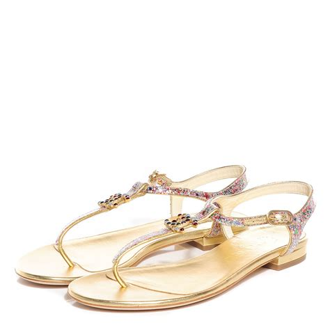 chanel sandals chanel patent glitter cc flat sandals 36 5 gold multicolor