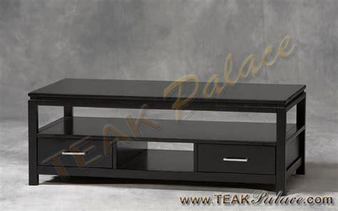 meja tv modern minimalis kayu jati warna hitam jepara