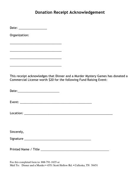 charitable donation tax receipt template