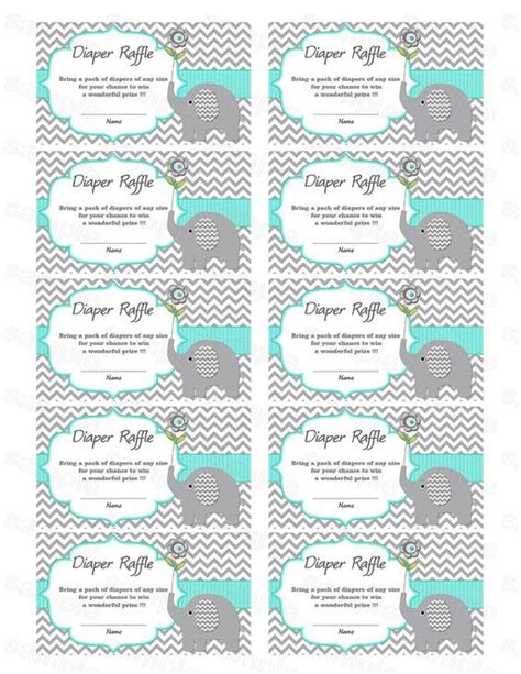 free printable raffle tickets for baby shower elephant baby shower diaper raffle ticket diaper raffle
