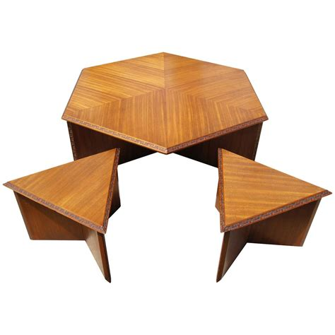 frank lloyd wright desk hexagonal coffee set by frank lloyd wright for