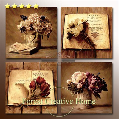 Country Vintage Decor by European Classic Retro Flower Painting Printing