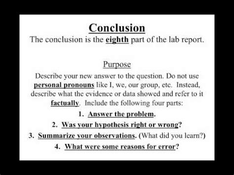 Video 1 8 How To Write A Lab Report Conclusion Youtube Science Lab Conclusion Template