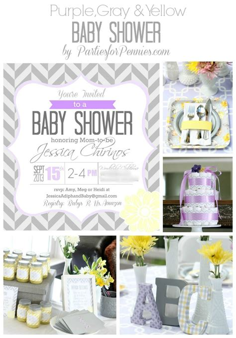 Purple And Yellow Baby Shower Ideas by Purple Yellow Gray Baby Shower For Pennies