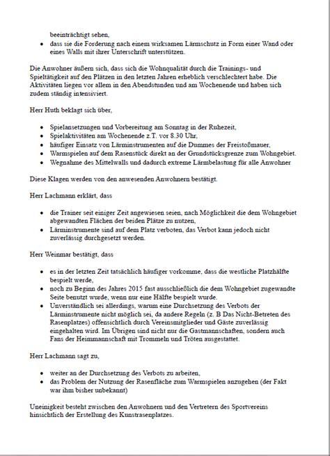 Protokoll Schreiben Muster Verein Mehrow 21 Protokoll Zum Gespr 228 Ch Verein Gr 252 N Weiss Und Anwohnern Der Sportanlage