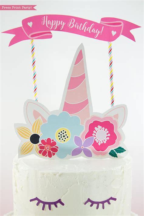 printable cake toppers unicorn cake topper printable press print
