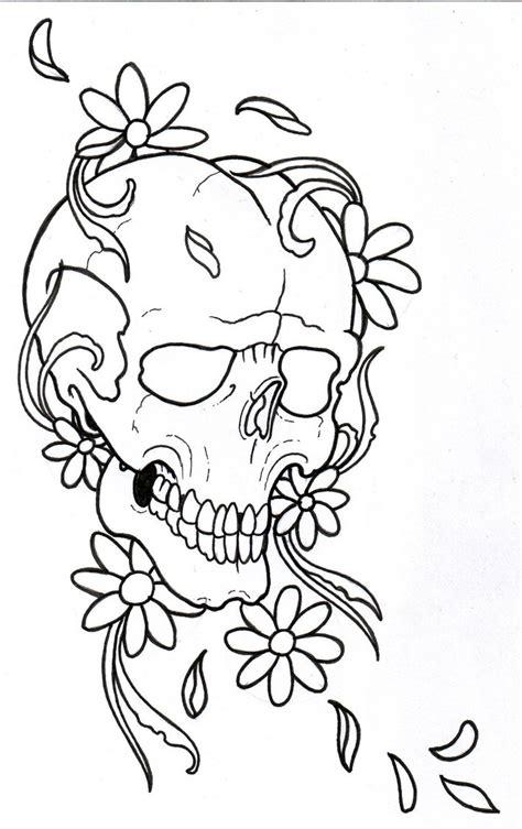 skull tattoo outline designs flowerskull outline by vikingtattoo on deviantart