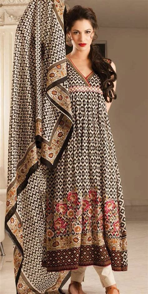 design clothes online india black beige embroidered cotton lawn salwar kameez dress