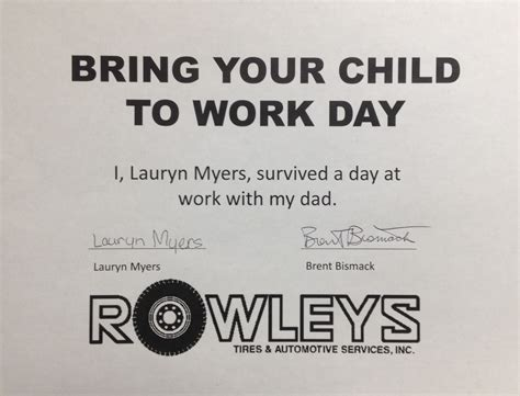 bring your to work day bring your child to work day 2016 rowleys tires automotive services complete