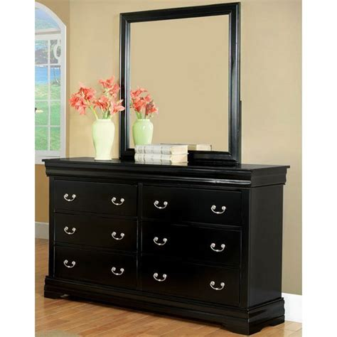Black Dresser With Mirror Drawers by Furniture Of America Marikina Black Dresser With Mirror By