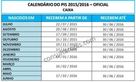 calendario do pis 2015 2016 tabela de pagamento pis 2015 2016 consultar pis 2018