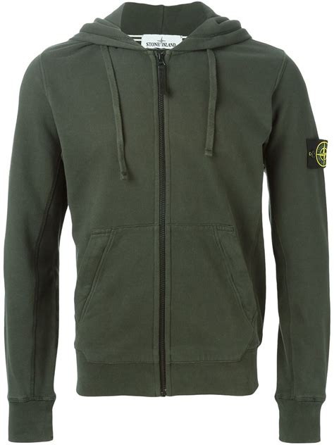 Hoodie Island 1 Zalfa Clothing island zipped hoodie in green for lyst