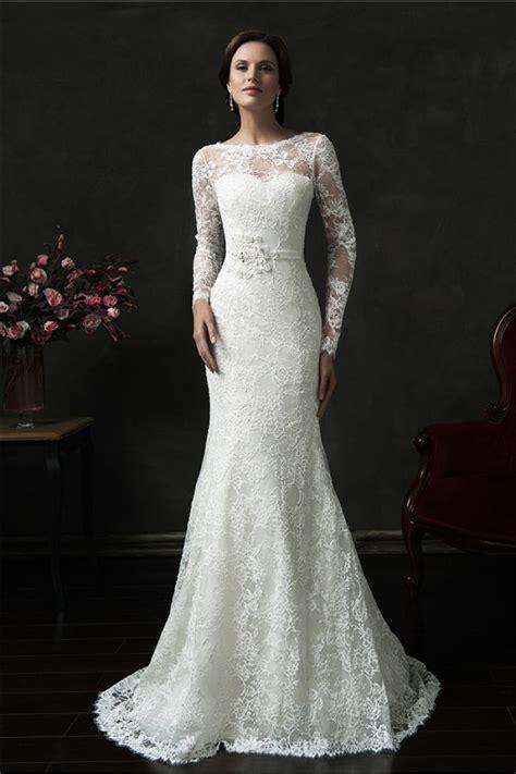 Vintage Lace Wedding Dresses by Mermaid V Back Sleeve Vintage Lace Wedding Dress