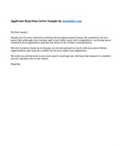 Rejection Letter Business Rejection Letter Sle To Employer Rejection Letter