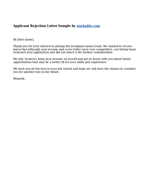Rejection Letter To Applicants 9 rejection letters free sle exle format