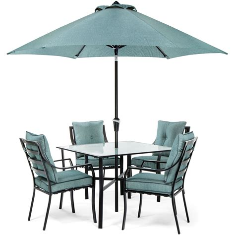 Umbrella And Table Set Lavallette 5 Dining Set In Blue With Table