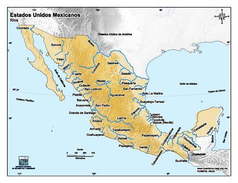 Mapa De Mexico Con Rios | mapa para imprimir de m 233 xico mapa en color de r 237 os de