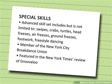 Sample Reference List For Resume by How To Write A Dance Resume With Sample Resume Wikihow