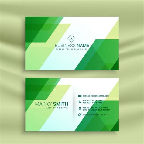 Green Business Card Template Vector by Green Business Card Template With Abstract Shapes Vector