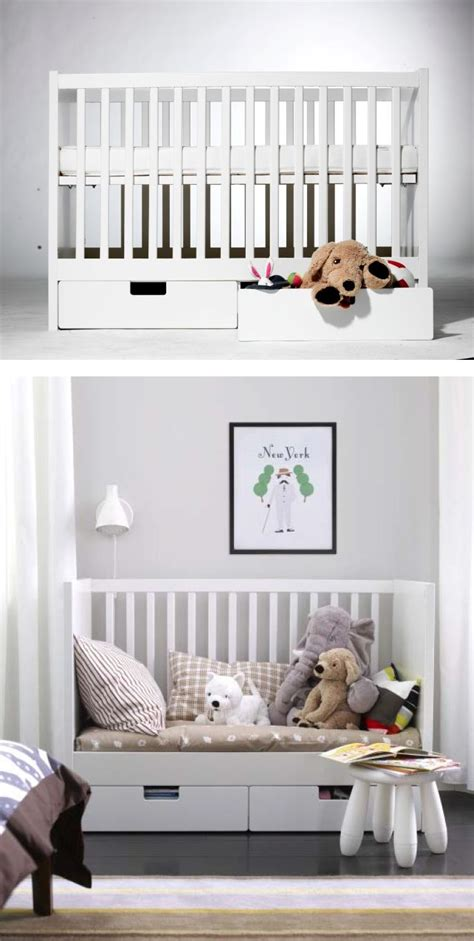Ikea Convertible Crib Stuva Crib With Drawers White Bed Toddler Bed And Cribs