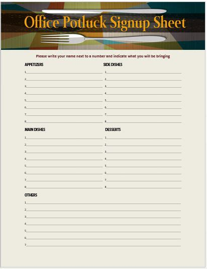 sign up sheets potluck sign up sheet 13 stylish office potluck signup sheets for your next
