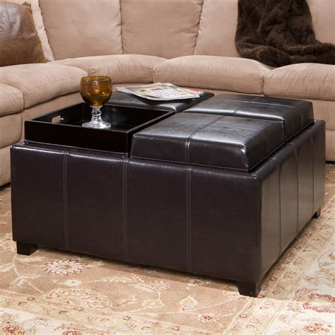 leather storage ottoman with tray black square ottoman square ottoman living room grey