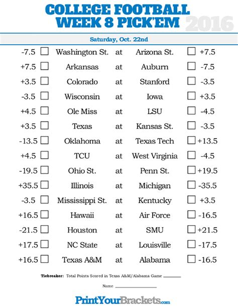 pick sheets week 8 college football pick em sheets printable