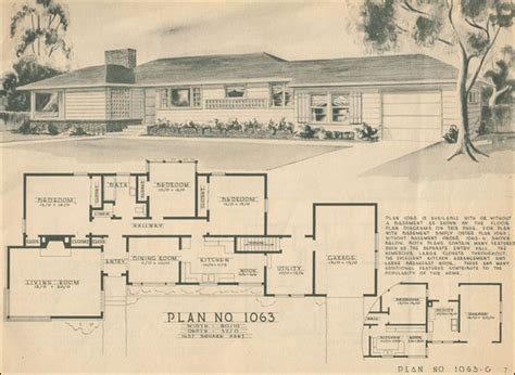 1950s house floor plans mid century ranch style rambler home building plan service
