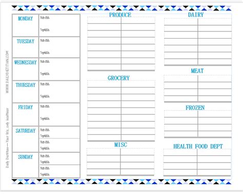 weekly meal planner with grocery list grocery list template
