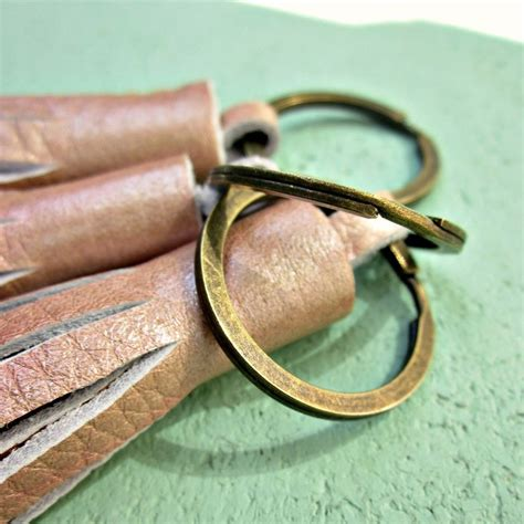 Handmade Sydney - rustic brass keyring with chunky pink handmade leather