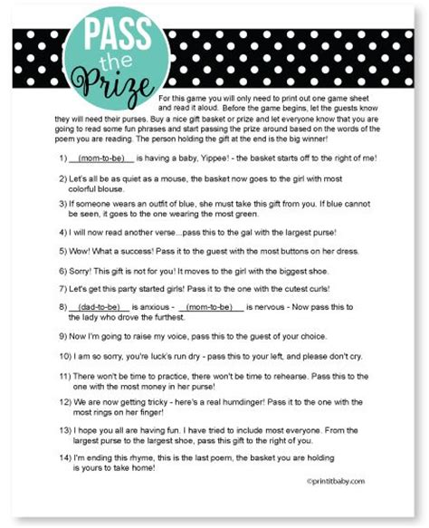 Pass The Prize Baby Shower Poem by Pass The Prize Pass The Prize Baby Shower