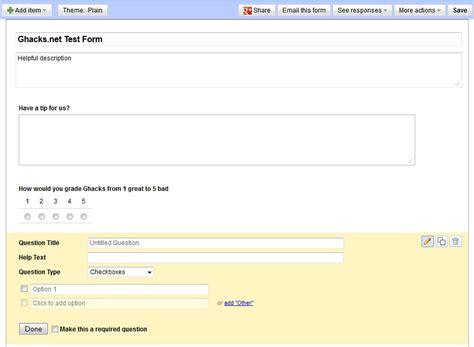 create form google docs tutorial how to create forms with google docs ghacks tech news