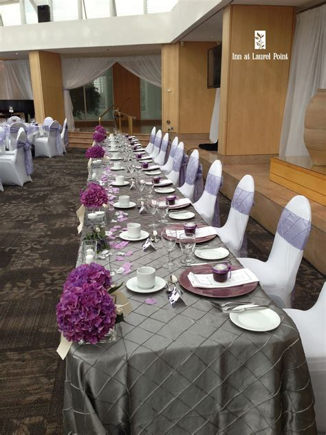 pretty grey purple wedding head table wedding shades