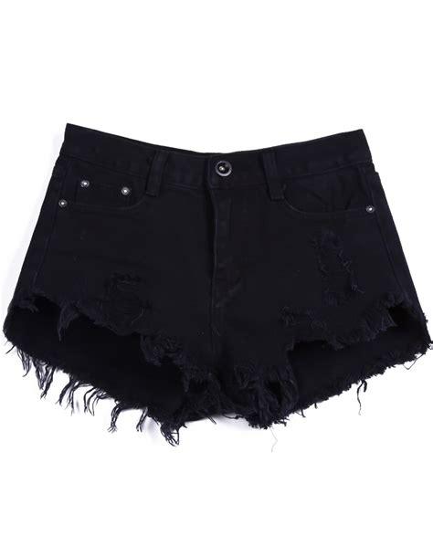 Denim Ripped Shorts 27 28 12363 black buttons ripped fringe denim shorts shein sheinside