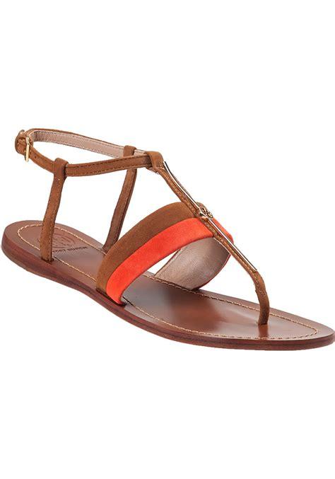 Flat Shoes Sandal Selop Pita 1 burch bar logo flat sandal suede in orange lyst