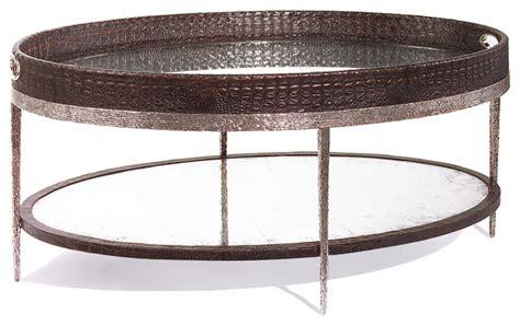 Bindi Hollywood Regency Tray Crocodile Silver Leaf Mirror Silver Tray Coffee Table