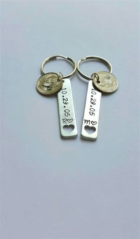 10 year anniversary gift for him, stamped dime keychains