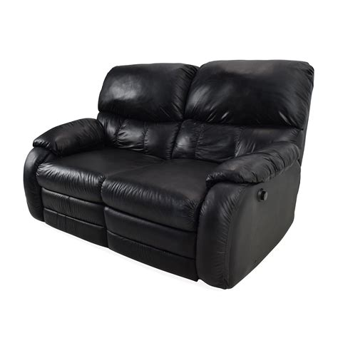 68 black leather reclining 2 seater sofas