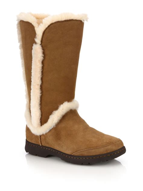 boots with fur ugg katia suede shearling faux fur boots in brown lyst