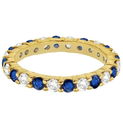 Blue Sapphire 3 35ct eternity blue sapphire ring band 14k yellow gold