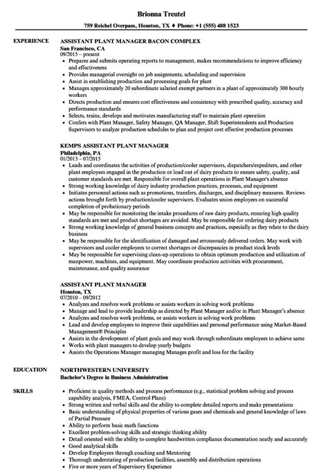 Plant Manager Resume by Assistant Plant Manager Resume Sles Velvet