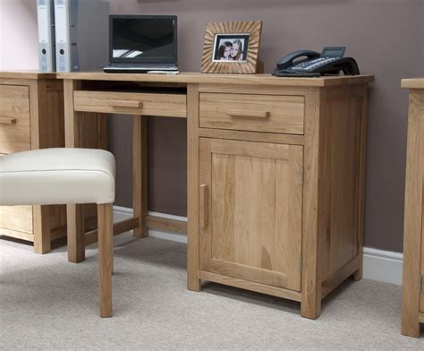 Small Oak Computer Desk Eton Solid Oak Modern Furniture Small Office Pc Computer Desk Ebay